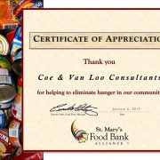Certificate of Appreciation St. Mary's Food Bank Alliance